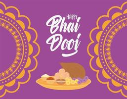 happy bhai dooj, indian celebration ceremony sister brother relation card vector