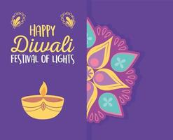 happy diwali festival, floral mandala candle light spiritual event, vector design