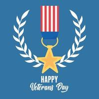 happy veterans day, US military armed forces soldier, star medal memorial emblem vector