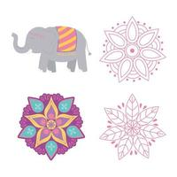 happy diwali festival, floral mandala flowers and elephant icons vector design