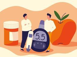 diabetes men cartoon vector