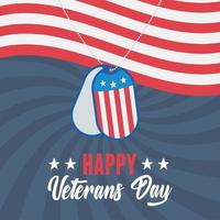 happy veterans day, army token on waving american flag, US military armed forces soldier vector
