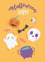 happy halloween funny pumpkin skull bat cauldron candies creepy eye poster vector