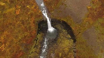 Aerial drone view of Svartifoss Waterfall in Skaftafell in Vatnajokull National Park in Iceland, Europe. video