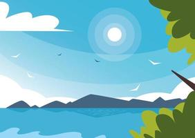 nature landscape with beautiful fields and sky blue vector