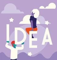 people of business with idea label vector
