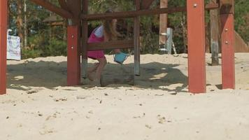 Little girl plays with a dog on the beach Sunny summer day video