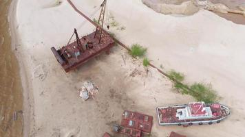 Old Rusty Ships on The Riverbank video