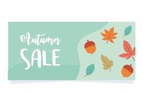 venta de otoño, bellotas y hojas de arce fondo verde, venta de compras o banner promocional vector