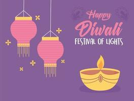 happy diwali festival, diya lamp candle lamps and flowers decoration vector design