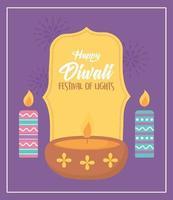 happy diwali festival, diya lamp and burning candles celebration, vector design