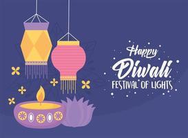 happy diwali festival, candle in diya lamp lanterns lotus flower purple background vector design