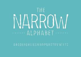 Thin Narrow alphabet. chalk or coal drawing font, Imprint type for vintage logo, headline, monogram, typewriter lettering and typography. Minimal slim letters, vector typographic design