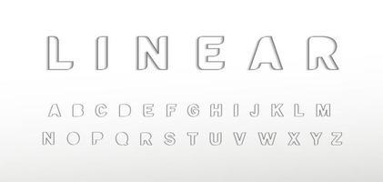 Linear border alphabet. Thin border line font, minimal type for modern futuristic logo, elegant monogram, digital device, posters and hud web graphic. Minimal style letters, vector typography design