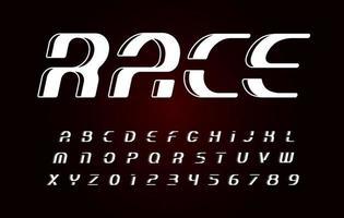 fuente en negrita cursiva, alfabeto deportivo vintage, conjunto de letras de carrera, ilustraciones vectoriales. monograma de fuente. letras decorativas geométricas abstractas. logotipos simples. vector