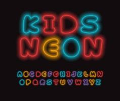 Neon letters set. Glowing colorful font. Luminous tubes style vector latin alphabet. Font for event, promo, logo, banner, monogram and poster. Typeset design
