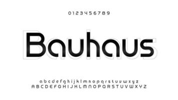 Awesome bauhaus alphabet. Modern futuristic font, techno style letters. Lowercase, uppercase and numbers type for logo, headline, monogram, lettering and typography. Vector typographic design