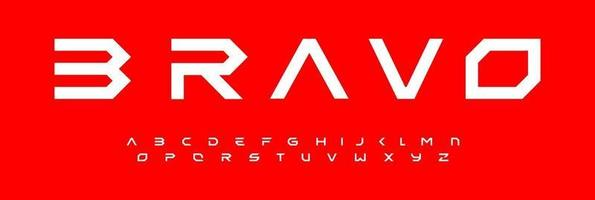 Modern geometric alphabet, modular font design, extended futuristic letters. Typeset for branding, headline, title, logo. Minimal design of technology, space, science, gui, ui, sci-fi cinema cover. vector