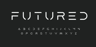 espacio alfabeto futuro, fuente futurista. Letras de estilo de línea minimalista de ciencia ficción de vanguardia para logotipo, título, monograma, póster, música o portada de película. vector futuro diseño tipográfico