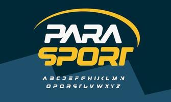 Para sport bold italic font alphabet with cropped letters for modern logo, headline, lettering and typography of auto and para sport. Futuristic letters, vector typographic design
