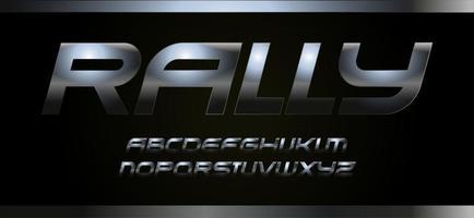 Fuente deportiva moderna con textura metálica, tipografía vectorial. alfabeto para carreras de velocidad de rally. letras de acero oscuro sobre fondo negro. vector
