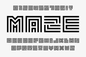 Linear labyrinth letters and numbers set. Line maze style alphabet. Contout geometric font, type for lineart logo and monogram concept. Outline vector typography design