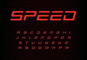 Speed letters set. Red auto vector alphabet. Automotive headline font. Dynamic style ABC, sport power monogram and poster template. Typography design