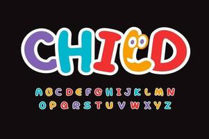Child letters set. Bright colorful style alphabet. Funny font for birthday, childrens toys, school logos or art banner. Childhood vector typography design