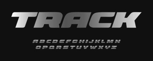 amplia fuente de metal en negrita. colección de letras de estilo de pista para el diseño de la industria del deporte, automóvil, moto y velo. diseño de tipografía inoxidable vector