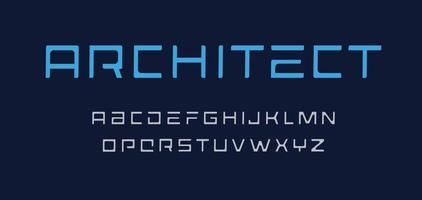 conjunto de letras geométricas. alfabeto de estilo arquitecto. fuente en mayúscula techno para logos, pancartas, monogramas y carteles. diseño de tipografía vectorial vector