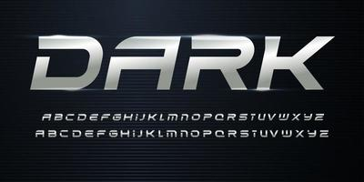 Sport Alphabet with Metallic texture on dark background. Chrome steel italic alphabet for dynamic logo and headlines. Modern cropped letters with aluminium color. Vector typography design