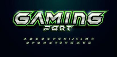fuente futurista del alfabeto verde para el logotipo y el título del videojuego. letras en negrita con ángulos agudos y contorno verde. fuente nítida inclinada sobre fondo negro. diseño de tipografía vectorial con textura de metal. vector