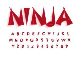 alfabeto de letras de fuente japonesa, tipografía china para el logotipo de comida japonesa, sushi y rollos, diseño de tipografía vectorial. vector