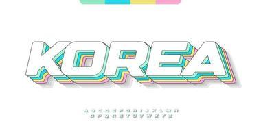 impresionante alfabeto de corea. fuente impresionante de color pastel kawaii. tipografía ancha y en negrita para cómics modernos, logotipos, titulares, letras creativas. estilo minimalista sin letras expandidas, diseño tipográfico vectorial vector