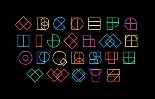 Outline color font colored letters geometric contour shapes, decorative line type for awesome rave headline design, linear logo and neon sci-fi lettering, vector alphabet.