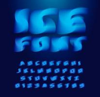 Ice cube alphabet. Abstract 3D stunning font, contemporary type for logo, headline, monogram, creative lettering, maxi typography and packaging. Frozen water style letters, vector typographic design