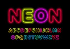 Colored neon font, colorful outlines letter and numbers set with neon colored glow on black background. Fluorescent shine Typeset for entertaiment, cinema, kids birthday, nighlife. Vector typography