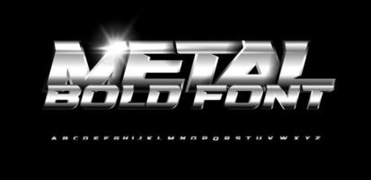 Weightlifting metallic style font. Set of metal bold letters with chrome and steel effect. Vector alphabet design.