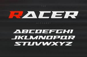 Racing font, aggressive and stylish lettering design. Dynamic letters, italic wide font with modern serifs, sports alphabet. Vector typography design