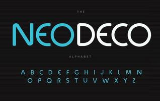 Nouveau deco alphabet. Neo deco elegance font, type for modern futuristic logo, headline, monogram, creative lettering and typography. Minimal style sans rounded letters, vector typographic design