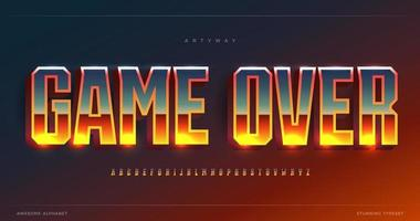 Game Over glowing gradient alphabet. Condensed stunning font, minimalist monumental type for bet game logo, gambling shining text. Minimal style tall sans letters, vector typographic design