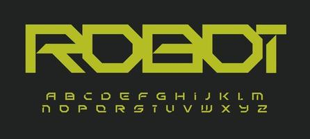 Alphabet in robotic technology style. Geometric futuristic font for modern innovation design, futuristic logo, headline, monogram, quote, creative lettering and typography. Vector typographic design