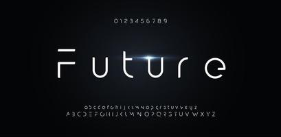 Futuristic font, alphabet of future for modern technology logo. Minimalist letters design for hud, digital space and ai element. Vector robot typography