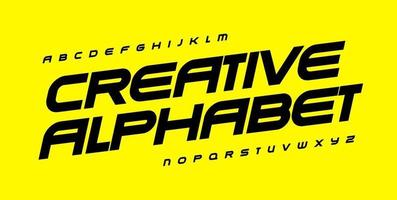 Creative alphabet for automotive, sport, gym and fitness. Geometric font, wide bold italic type for modern logo, banner and poster headline, monogram, quote and lettering. Vector typographic design