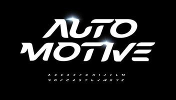 Automotive alphabet letter font. Modern logo typography. Speed race and active sport vector typographic design. Bold italic type for fast logo, headline, dynamic title, fit monogram, active lettering.
