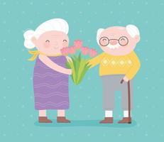 feliz día de los abuelos, abuela con flores y abuelo con tarjeta de dibujos animados de personaje de bastón vector