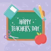 happy teachers day, blackboard lettering apple book ruler and pencil vector