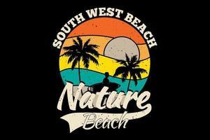 camiseta suroeste playa naturaleza playa estilo retro vector