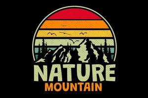 T-shirt nature mountain retro vintage style vector