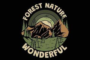 T-shirt wonderful forest nature vintage style vector